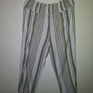 Ashley Stewart Striped Linen Pant